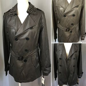 Hawk&Co. Faux Leather Stud Double Breast Jacket XL